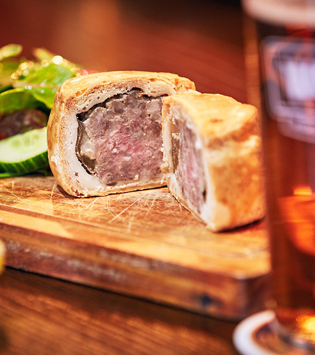 the famous mouth watering houghs pork pie served at the plough inn restraunte